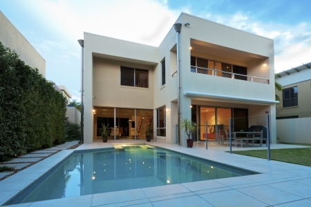 16791287 - luxurious modern house with swimming pool and backyard